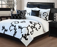 Duchess Queen Size Black and White 9-Piece Comforter Set