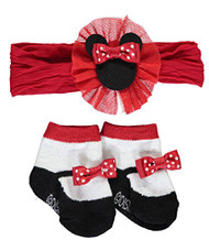 "Minnie Mouse Baby Girls ""Party Time"" Headwrap & Booties Set"