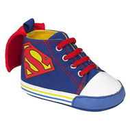 Superman Infant Blue Crib Shoes with Capes