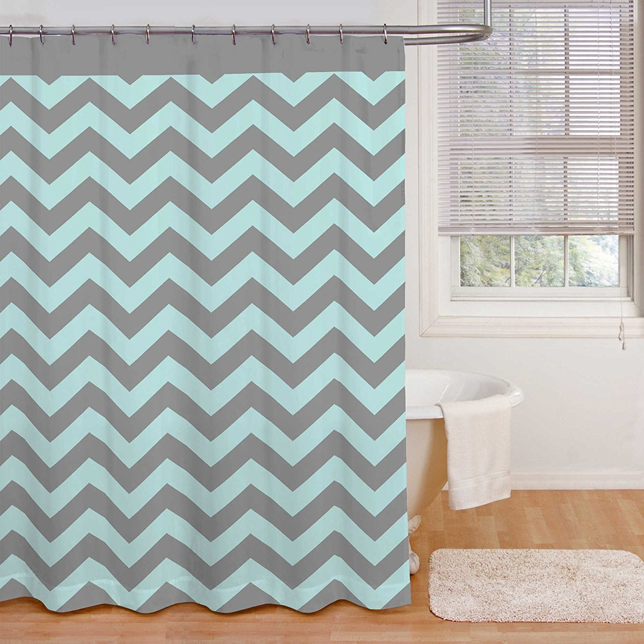 Ryder Aqua Grey Shower Curtain