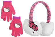 Hello Kitty Girls Plush Ear Muff & Gloves Set- One Size (White)