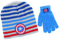 Captain America 2-Piece Knit Hat and Glove Set (Gray)