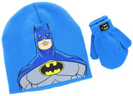 Batman Toddler Knit Hat and Mittens Set (Blue)