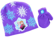 Disney Frozen Toddler Winter Hat & Mitten Set (Purple)