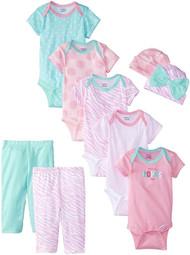 Gerber Girls 9-Piece Playwear Bundle Set (0-3 Months)
