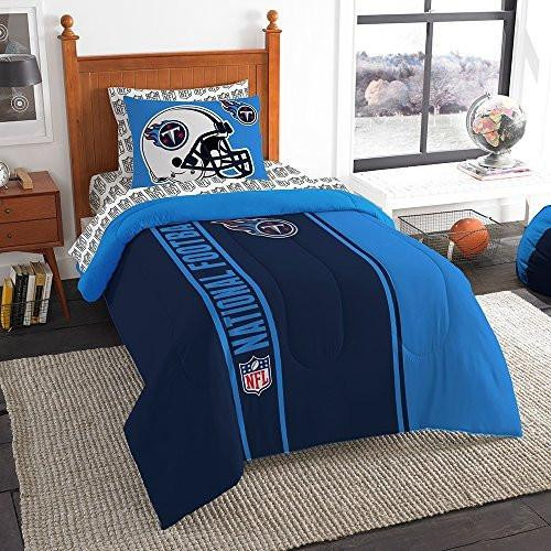 nfl tennessee titans soft cozy 5 piece twin size bed in a bag set