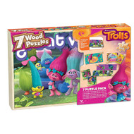 Trolls 7 Wood Puzzles In Wooden Storage Box