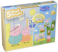 Peppa Pig 5 Wood Puzzles In Wooden Storage Box