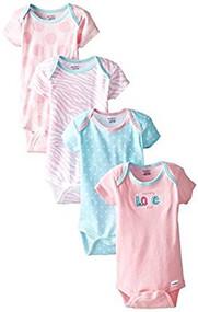 Gerber Baby Girls' 4 Pack Onesies