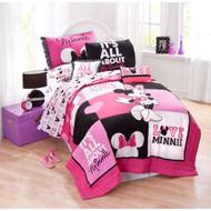 "Disney Minnie Classic ""Pink Squares"" Quilt Set, Twin"