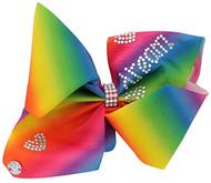 JoJo Siwa Large Rainbow Rhinestone Hearts Hair Bow