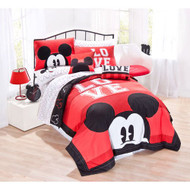 """Mickey Classic """"Luv"""" Twin Quilt Set"""