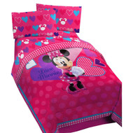 Minnie Mouse Hearts Bow-tique Twin Bed Comforter