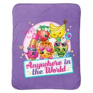 Shopkins Plush Travel Blanket Lovable Characters- Purple