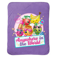 Shopkins Plush Travel Blanket Lovable Characters- Purple