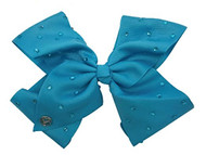JoJo Siwa Large Cheer Hair Bow (Turquoise w/Rhinestones )