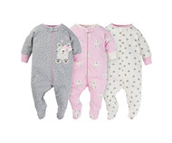Sleep N Play Sleepers 3Pk (Newborn, Heather Bunny)