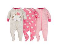 Sleep N Play Sleepers 3Pk (Newborn, Cheetah)