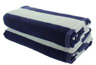 Navy Blue Cabana Beach Towels - 2 Pack