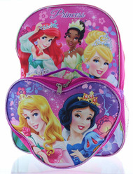 "Disney Princess 15"" Backpack with Lunch Bag- Cinderella & Friends"