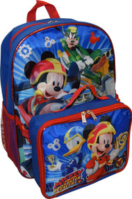 "Mickey And The Roadster Racers 16"" Backpack W/Lunch Box"
