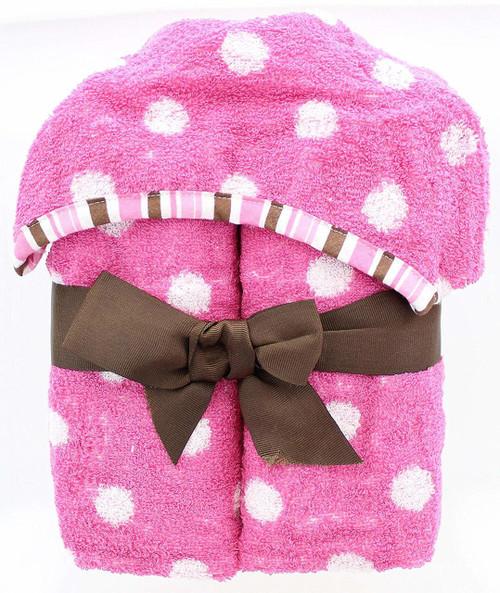 9 Cube Kids Pink White Toy Games Storage Unit Girls Boys: Polka Dots Kids Hooded Bath Towel
