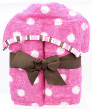 Polka Dots Kids Hooded Bath Towel - Pink