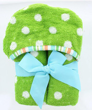 Polka Dots Kids Hooded Bath Towel - Green