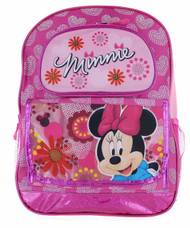 """Disney Minnie Mouse 16"""" Backpack - Floral Pink Minnie"""
