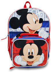 "Disney Mickey Mouse 16"" Backpack with Lunch Bag Set"