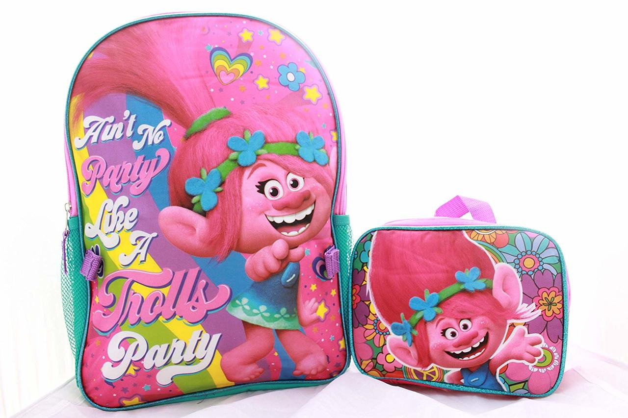 d5fc487a35b ... Trolls Girls School Backpack with Lunch Box. Image 1
