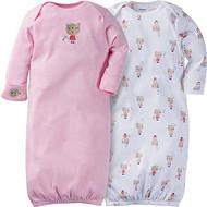 Gerber Unisex Baby 2 Pack Gown (0-6M, Bear Hugs)