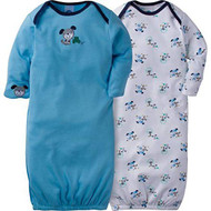 Gerber Unisex Baby 2 Pack Gown (0-6 Months, Dog)