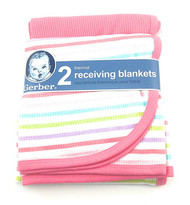 Gerber 2pk Thermal Receiving Blankets- Pink