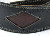 """2 .5"""" Black Leather Guitar Strap with Red Diamonds"""