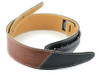 "2.5"" Two-Tone: Black with Brown Iguana Leather Guitar Strap"