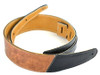 """2.5"""" Two-Tone: Black with Vintage Brown Leather Guitar Strap"""