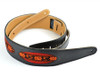 "2.5"" Black Leather Guitar Strap w/ Peruvian Hand Woven Fabric Ovals"
