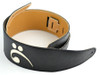 """3.5""""Black with Bass Clef Leather Guitar Strap (Wide Model)"""