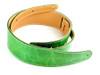 "2.5"" Vintage Green Leather Guitar Strap w/ Cream Stitch"