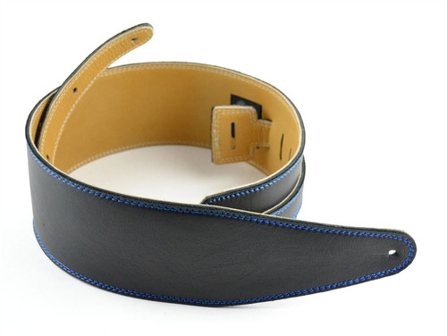 "3.5"" Black Velvet Leather Guitar Strap Blue Stitch"