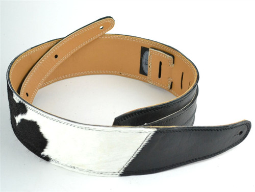 "2.5"" Two-Tone Black & B&W ""Hair on Hide"" Leather Guitar Strap"