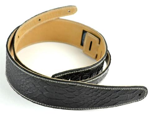 "2.5"" Black Croc Leather Guitar Strap w/ Cream Stitch"