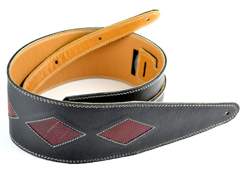 """3.5"""" Black Leather Guitar Strap with Red Diamonds"""