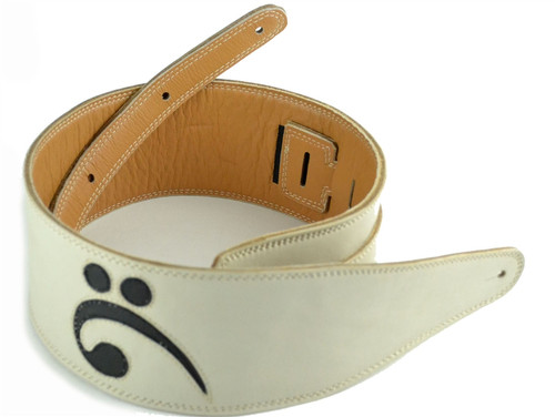 "3.5"" White with Bass Clef Leather Guitar Strap (Wide Model)"