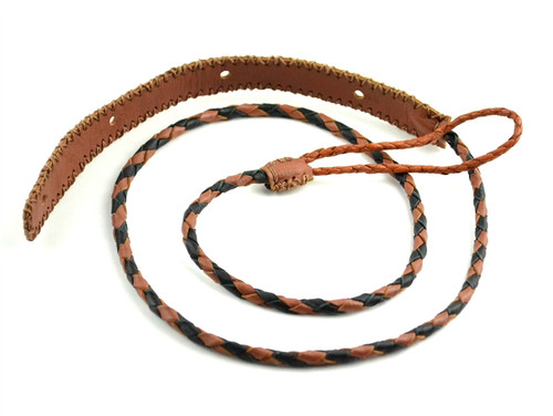 Brown/Black Braided Leather Mandolin Strap