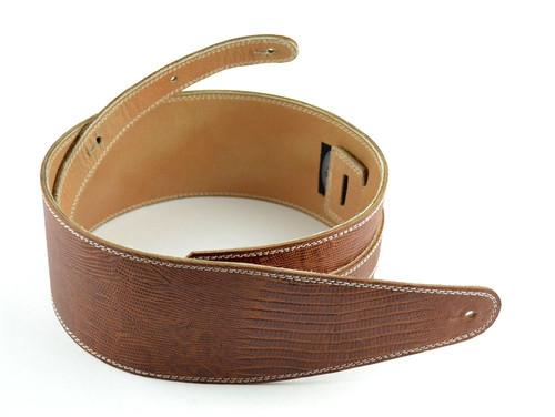 "3.5"" Brown Iguana Leather Guitar Strap (Wide Model)"