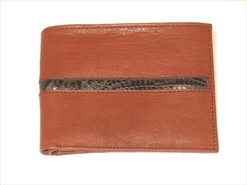 """Leather """"Pick Panel"""" Wallet - Bi-Fold - Brown with Assorted Accent Strips"""