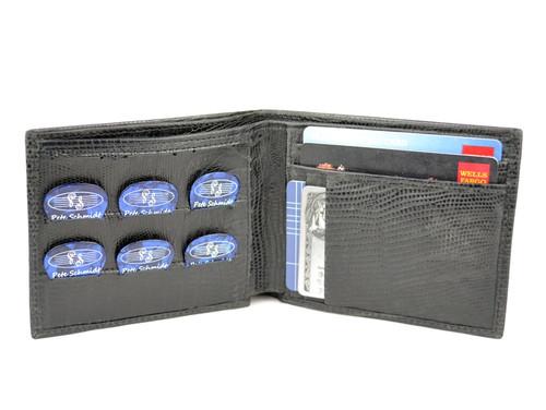 "Black Iguana Leather ""Pick Panel"" Wallet - Bi-Fold"
