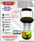 VMHSL200 Hybrid Solar Lantern with LED Lights